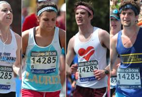 four people pretend they ran in the boston marathon